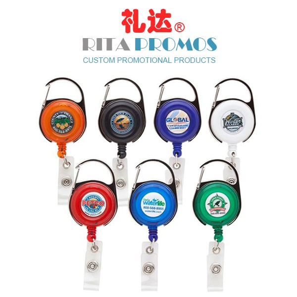 Custom Retractable/Swivel ID/Badge Reels with Carabiner (RPBIDCH-8)