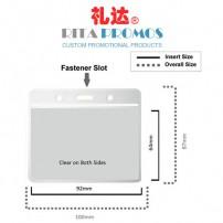 Flexible Vinyl Clear ID Card Holder. Soft PVC Plastic Transparent Badge Pocket (RPIDCH-3)
