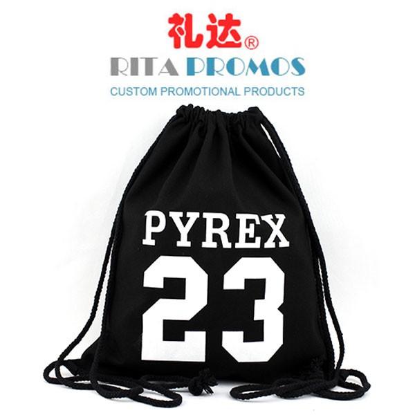 China Promotional Black Cotton Canvas  Drawstring Backpacks Bags (RPCDB-2)