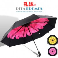 Personalized Black Promotional Folding Umbrellas with Flowers (RPUBL-034)