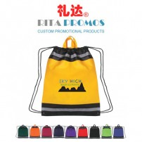 Promotional Non-woven Drawstring Backpack Sports Bags with Reflective Stripes (RPNWDB-3)