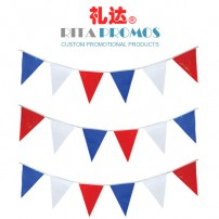 Holiday Decoration Plastic Bunting Triangle Red White Blue Flag Factory (RPPBF-004)