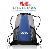 Two-tone Mesh-pockets Polyester Drawstring Backpacks with Custom Logo (RPPDB-4)