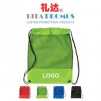 Logo Imprinted Polyester Drawstring Backpacks with Mesh Pocket (RPPDB-6)